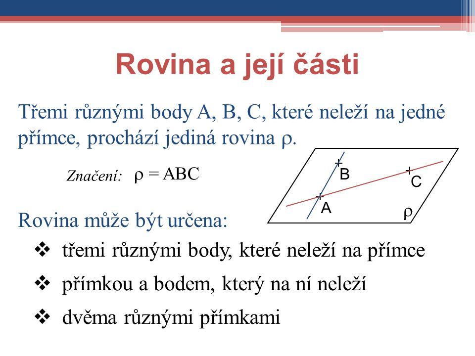 Rovina a její části Třemi různými body A, B, C, které neleží na jedné přímce, prochází jediná rovina .  = ABC Značení: Rovina může být určena:  pří