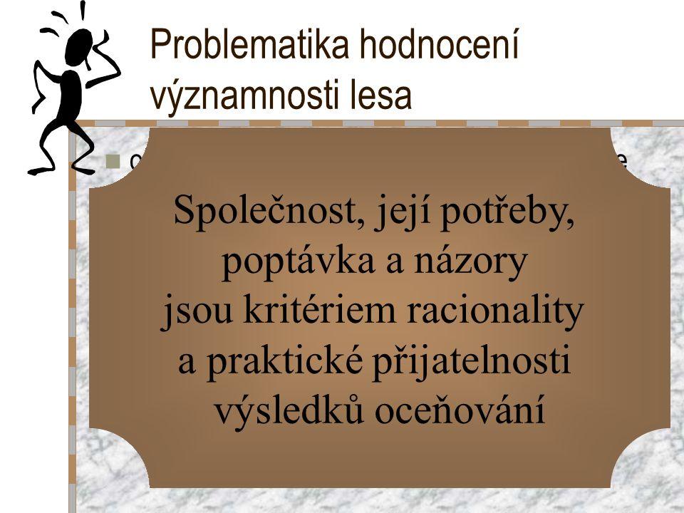 Problematika hodnocení významnosti lesa obtížná nejen pro mimoprodukční funkce, ale také pro hodnocení produkčních funkcí: –les = složitý objekt, půso