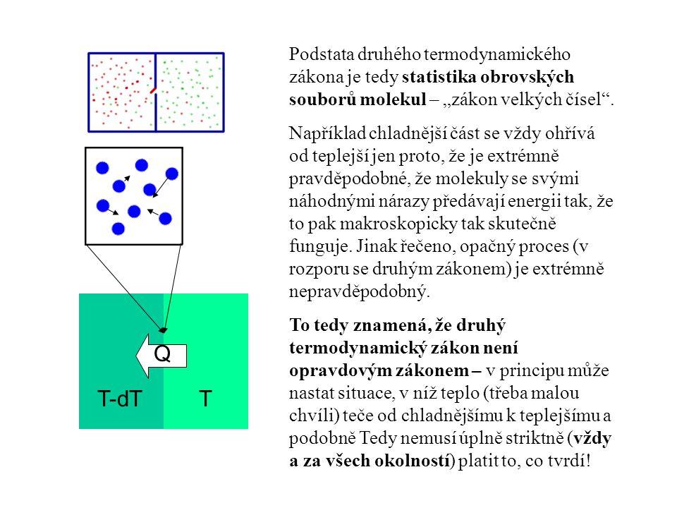 """Podstata druhého termodynamického zákona je tedy statistika obrovských souborů molekul – """"zákon velkých čísel ."""
