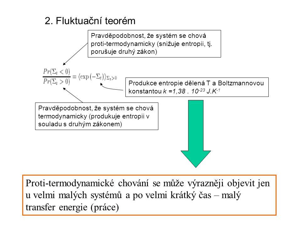 2. Fluktuační teorém Pravděpodobnost, že systém se chová proti-termodynamicky (snižuje entropii, tj. porušuje druhý zákon) Pravděpodobnost, že systém