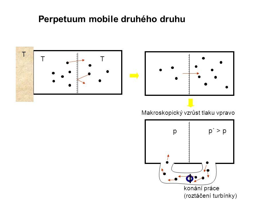 Makroskopický vzrůst tlaku vpravo p p´ > p konání práce (roztáčení turbínky) T TT Perpetuum mobile druhého druhu