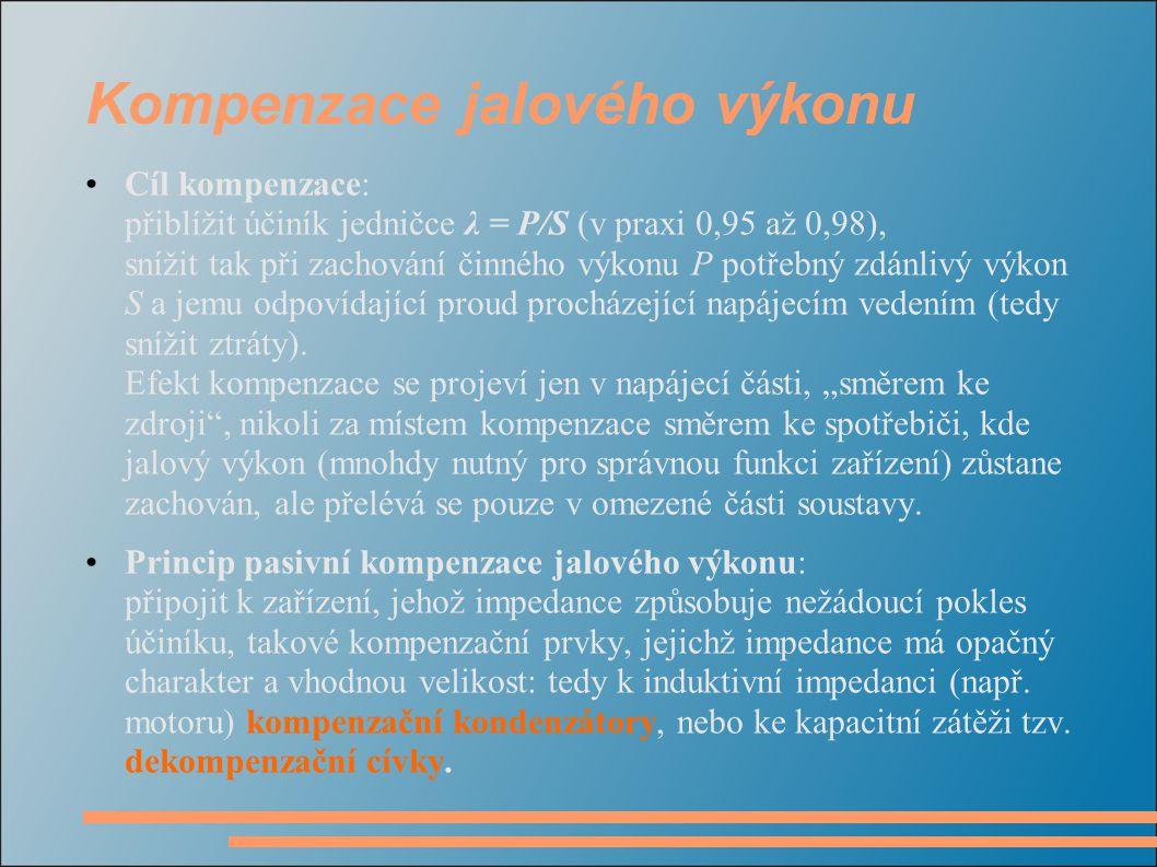 Kompenzace jalového výkonu Cíl kompenzace: přiblížit účiník jedničce λ = P/S (v praxi 0,95 až 0,98), snížit tak při zachování činného výkonu P potřebn