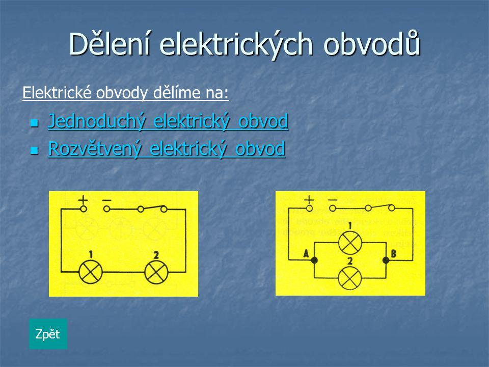 Dělení elektrických obvodů Jednoduchý elektrický obvod Jednoduchý elektrický obvod Jednoduchý elektrický obvod Jednoduchý elektrický obvod Rozvětvený elektrický obvod Rozvětvený elektrický obvod Rozvětvený elektrický obvod Rozvětvený elektrický obvod Zpět Elektrické obvody dělíme na: