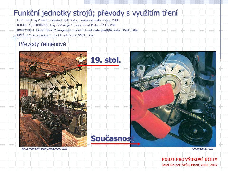 Funkční jednotky strojů; převody s využitím tření POUZE PRO VÝUKOVÉ ÚČELY Josef Gruber, SPŠS, Plzeň, 2006/2007 Převody řemenové 19. stol. Současnost S