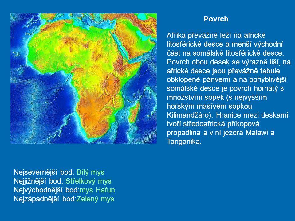 Povrch Afrika převážně leží na africké litosférické desce a menší východní část na somálské litosférické desce. Povrch obou desek se výrazně liší, na