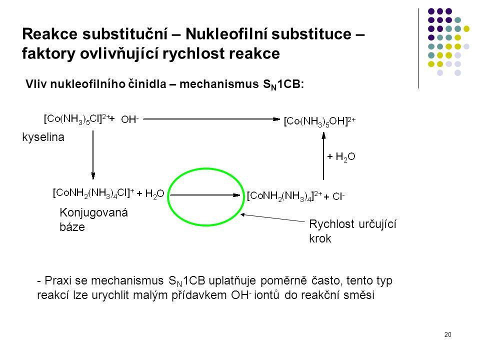 20 Reakce substituční – Nukleofilní substituce – faktory ovlivňující rychlost reakce Vliv nukleofilního činidla – mechanismus S N 1CB: kyselina Konjug
