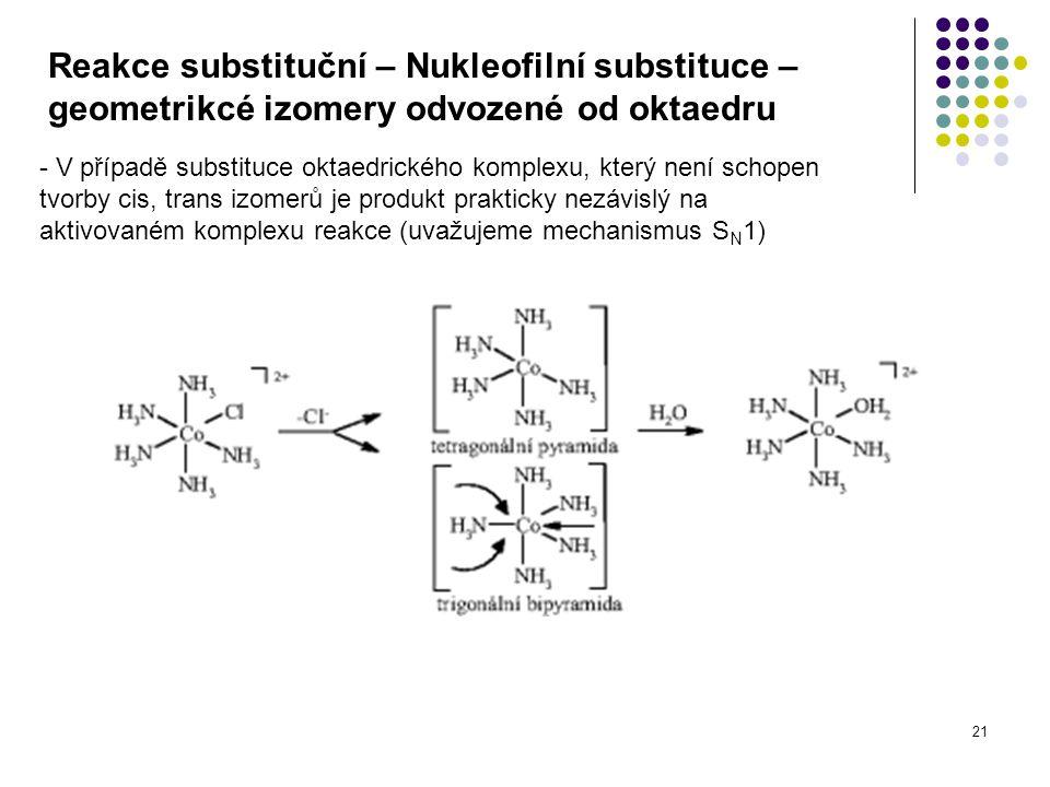 21 Reakce substituční – Nukleofilní substituce – geometrikcé izomery odvozené od oktaedru - V případě substituce oktaedrického komplexu, který není schopen tvorby cis, trans izomerů je produkt prakticky nezávislý na aktivovaném komplexu reakce (uvažujeme mechanismus S N 1)