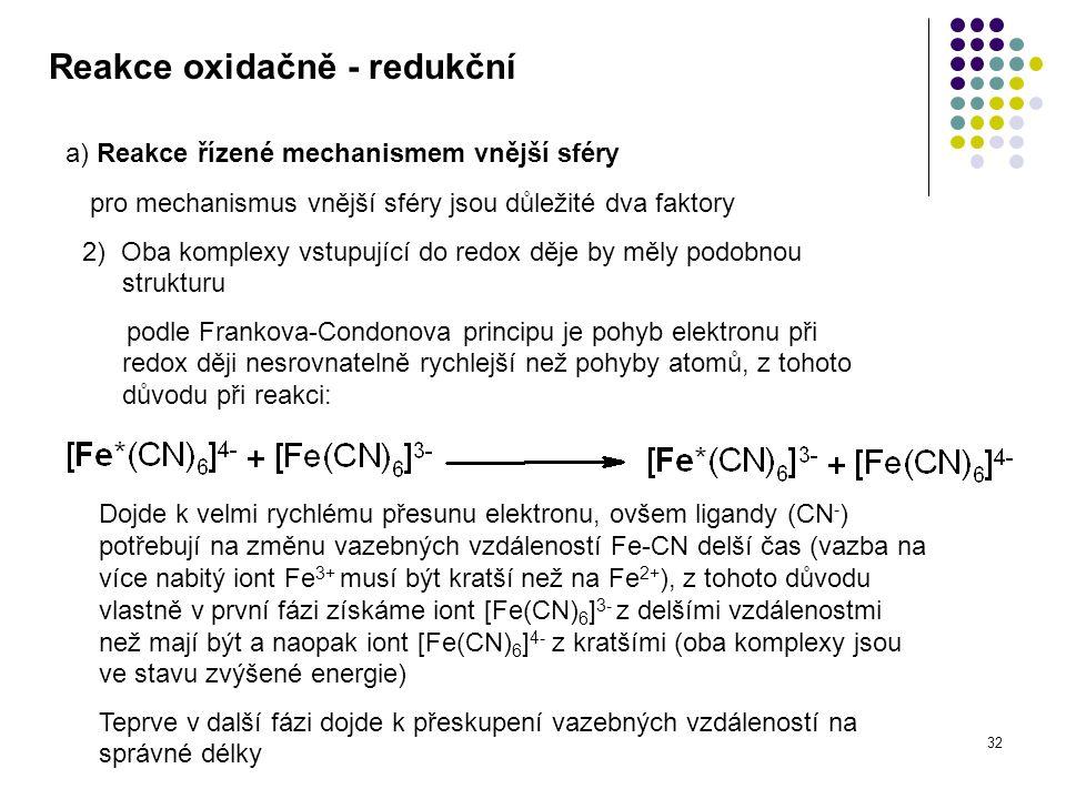32 Reakce oxidačně - redukční a) Reakce řízené mechanismem vnější sféry pro mechanismus vnější sféry jsou důležité dva faktory 2) Oba komplexy vstupuj