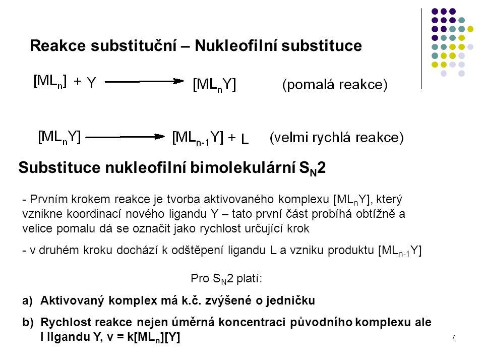 7 Reakce substituční – Nukleofilní substituce Substituce nukleofilní bimolekulární S N 2 - Prvním krokem reakce je tvorba aktivovaného komplexu [ML n