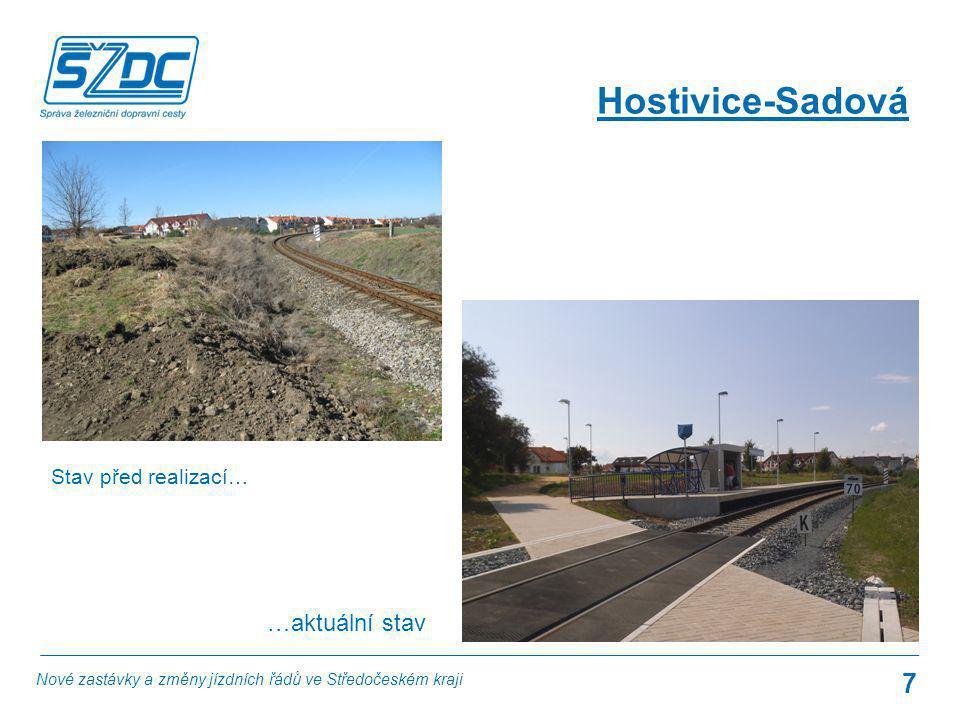 7 Hostivice-Sadová Stav před realizací… …aktuální stav Nové zastávky a změny jízdních řádů ve Středočeském kraji