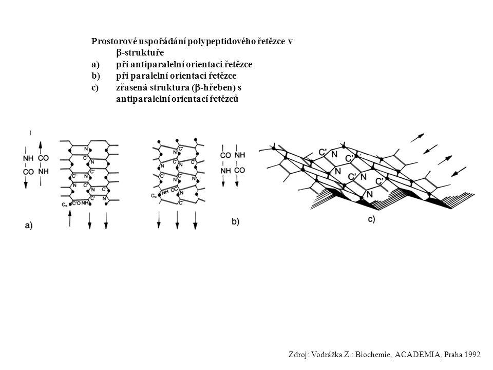 Prostorové uspořádání polypeptidového řetězce v  -struktuře a)při antiparalelní orientaci řetězce b)při paralelní orientaci řetězce c)zřasená struktu