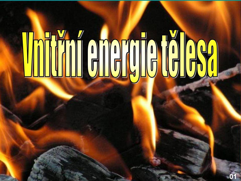 Energie tělesa jako celku Těleso jako celek má svoji: - polohovou energii (lyžař stojící na kopci) - pohybovou energii (jedoucí lyžař) Energie tělesa jako celku se do vnitřní energie tělesa nezahrnuje!!!