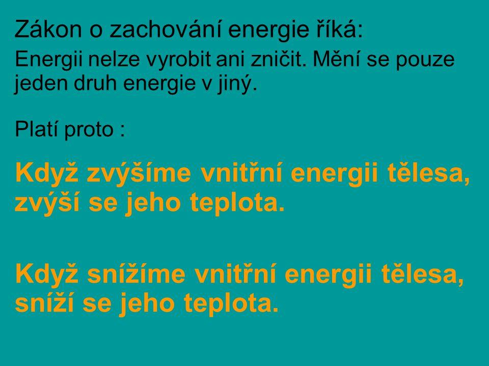 Příklady zvýšení vnitřní energie tělesa: Tření dlaní o sebe: rozkmitáme buňky a ruce se zahřejí Vrtání otvoru: třením a dělením materiálu se zahřeje vrták i předmět Ohýbání drátu: část polohové energie se uvolní, drát zahřeje Otáčení dřevěného kolíku v dřevěném důlku: třením se zvýší teplota a lze rozdělat oheň Mikrovlnná trouba: mikrovlny rozkmitají částice jídla, jídlo ohřejí