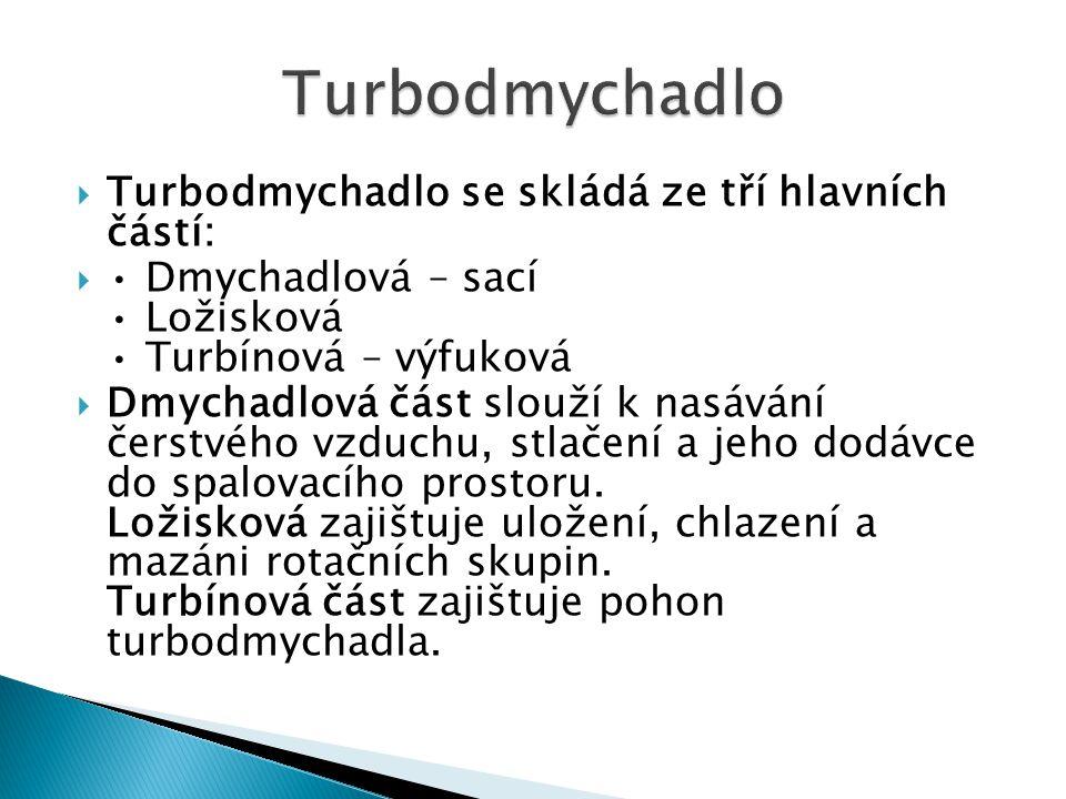  Turbodmychadlo se skládá ze tří hlavních částí:  Dmychadlová – sací Ložisková Turbínová – výfuková  Dmychadlová část slouží k nasávání čerstvého vzduchu, stlačení a jeho dodávce do spalovacího prostoru.