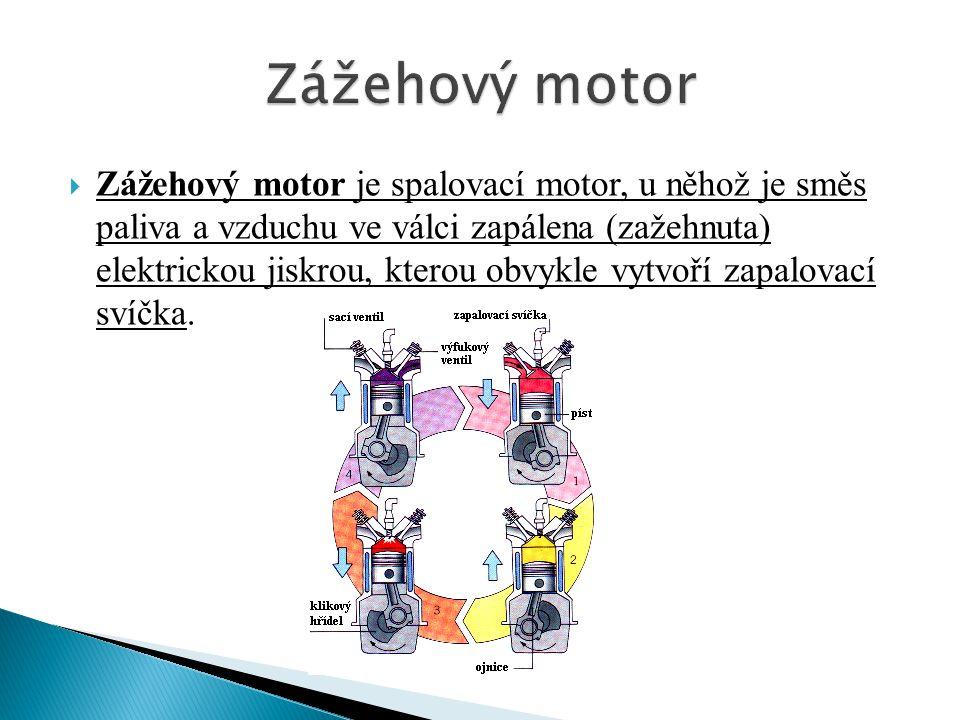  Zážehový motor je spalovací motor, u něhož je směs paliva a vzduchu ve válci zapálena (zažehnuta) elektrickou jiskrou, kterou obvykle vytvoří zapalovací svíčka.