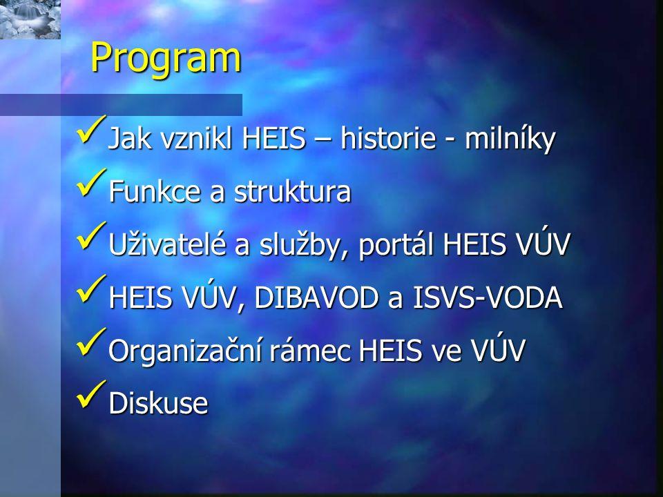 Jak vznikl HEIS – historie - milníky Jak vznikl HEIS – historie - milníky Funkce a struktura Funkce a struktura Uživatelé a služby, portál HEIS VÚV Uživatelé a služby, portál HEIS VÚV HEIS VÚV, DIBAVOD a ISVS-VODA HEIS VÚV, DIBAVOD a ISVS-VODA Organizační rámec HEIS ve VÚV Organizační rámec HEIS ve VÚV Diskuse Diskuse Program