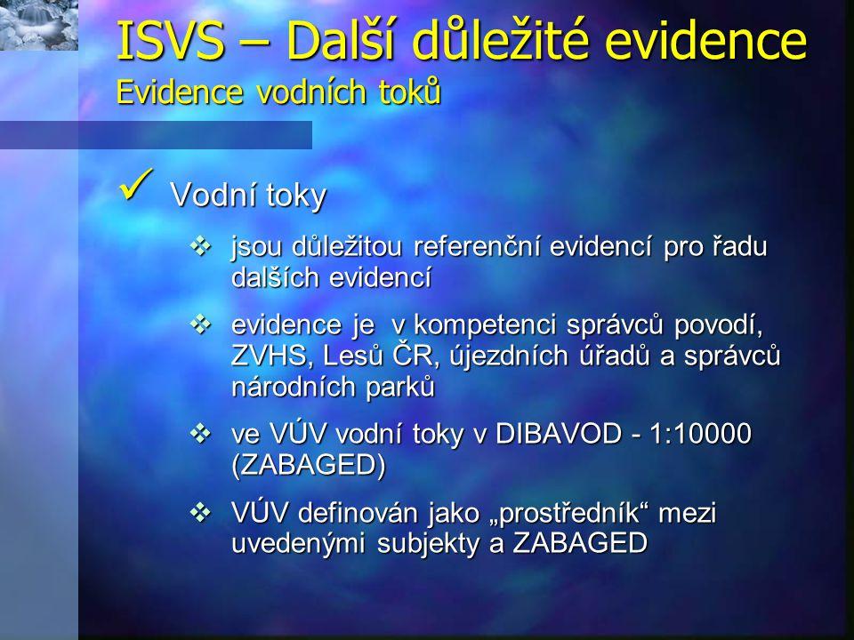 """Vodní toky Vodní toky  jsou důležitou referenční evidencí pro řadu dalších evidencí  evidence je v kompetenci správců povodí, ZVHS, Lesů ČR, újezdních úřadů a správců národních parků  ve VÚV vodní toky v DIBAVOD - 1:10000 (ZABAGED)  VÚV definován jako """"prostředník mezi uvedenými subjekty a ZABAGED ISVS – Další důležité evidence Evidence vodních toků"""
