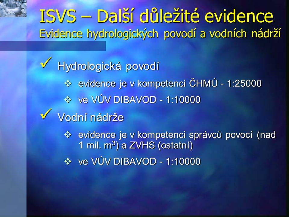 Hydrologická povodí Hydrologická povodí  evidence je v kompetenci ČHMÚ - 1:25000  ve VÚV DIBAVOD - 1:10000 Vodní nádrže Vodní nádrže  evidence je v kompetenci správců povocí (nad 1 mil.