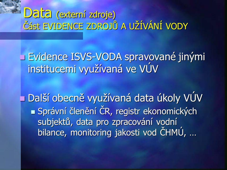 Data (externí zdroje) Část EVIDENCE ZDROJŮ A UŽÍVÁNÍ VODY Evidence ISVS-VODA spravované jinými institucemi využívaná ve VÚV Evidence ISVS-VODA spravované jinými institucemi využívaná ve VÚV Další obecně využívaná data úkoly VÚV Další obecně využívaná data úkoly VÚV Správní členění ČR, registr ekonomických subjektů, data pro zpracování vodní bilance, monitoring jakosti vod ČHMÚ, … Správní členění ČR, registr ekonomických subjektů, data pro zpracování vodní bilance, monitoring jakosti vod ČHMÚ, …