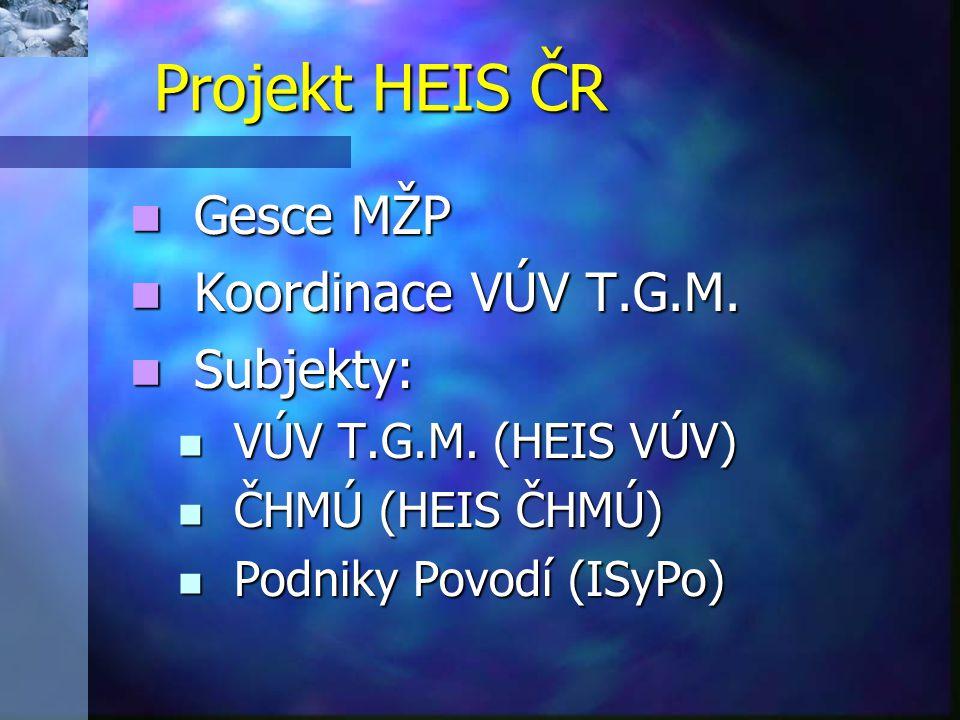 Metodické standardy HEIS ČR Datové struktury / logický datový model Datové struktury / logický datový model VH objekty/jevy (entity) a jejich charakteristiky (atributy) a vztahy mezi nimi VH objekty/jevy (entity) a jejich charakteristiky (atributy) a vztahy mezi nimi Vodstvo ČR v GIS Vodstvo ČR v GIS Geografické vrstvy Geografické vrstvy Standardy tvoří společný základ pro vývoj IS jednotlivých subjektů (HEIS VÚV a ČHMÚ, ISyPo) Standardy tvoří společný základ pro vývoj IS jednotlivých subjektů (HEIS VÚV a ČHMÚ, ISyPo)