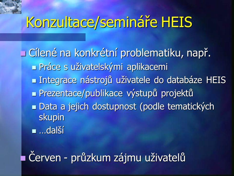 Konzultace/semináře HEIS Cílené na konkrétní problematiku, např.
