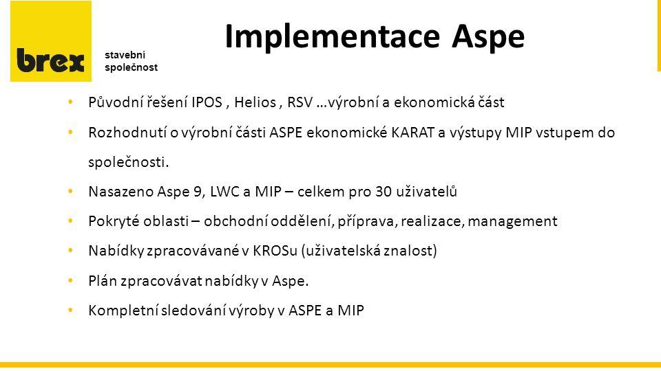 Implementace Aspe c c e r b Původní řešení IPOS, Helios, RSV …výrobní a ekonomická část Rozhodnutí o výrobní části ASPE ekonomické KARAT a výstupy MIP vstupem do společnosti.
