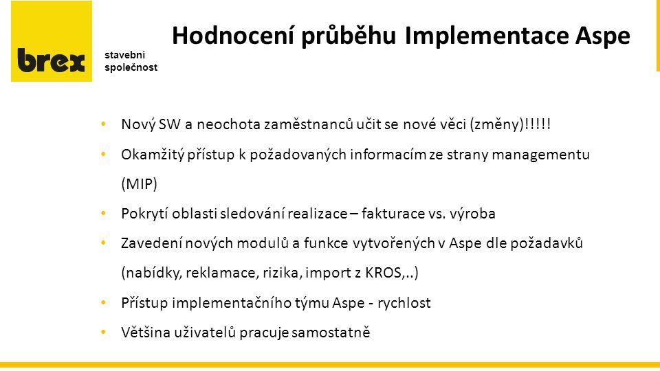 Hodnocení průběhu Implementace Aspe c c e r b Nový SW a neochota zaměstnanců učit se nové věci (změny)!!!!.