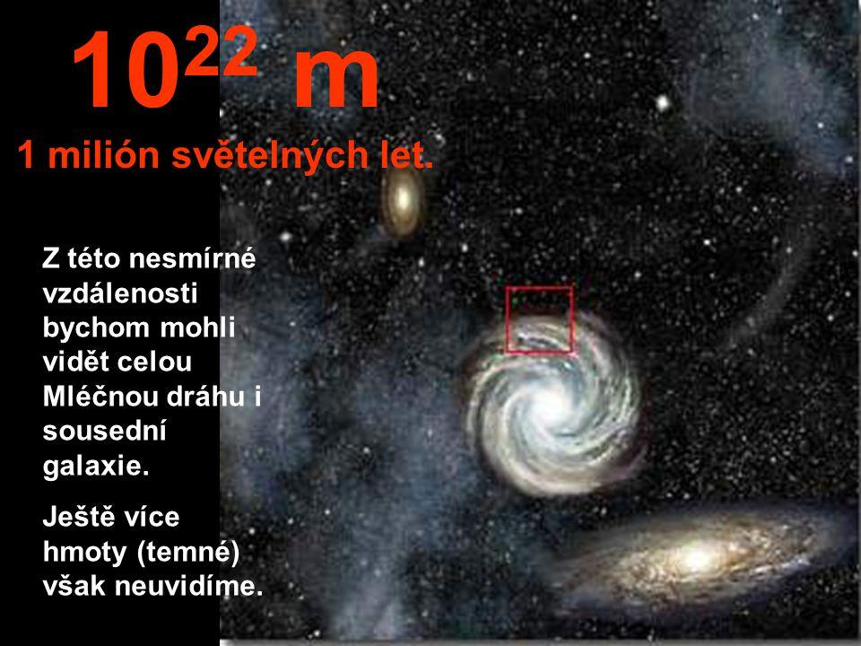 Přiblížili jsme se k okraji Mléčné dráhy. 10 21 m 100 000 světelných roků 1 zettametr 1 Zm