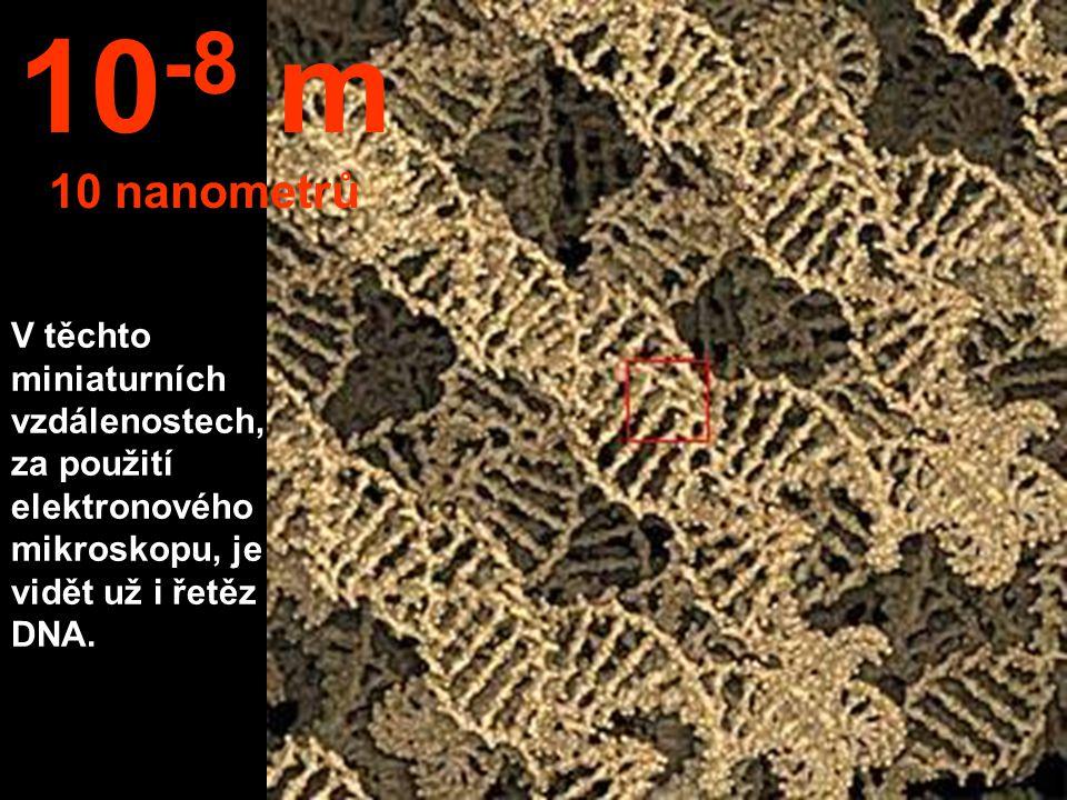 Jsme v oblasti nanotechnologických měření. Můžeme vidět například chromozomy. 10 -7 m 100 nanometrů