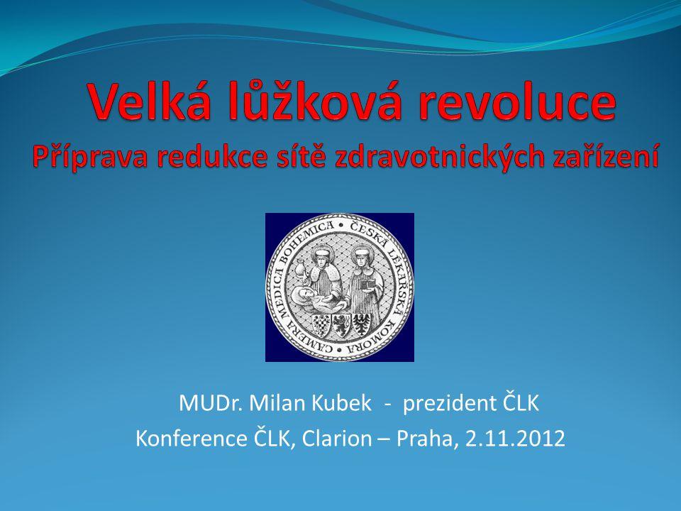 MUDr. Milan Kubek - prezident ČLK Konference ČLK, Clarion – Praha, 2.11.2012