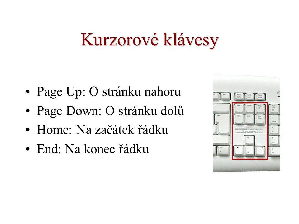 Kurzorové klávesy Page Up: O stránku nahoru Page Down: O stránku dolů Home: Na začátek řádku End: Na konec řádku