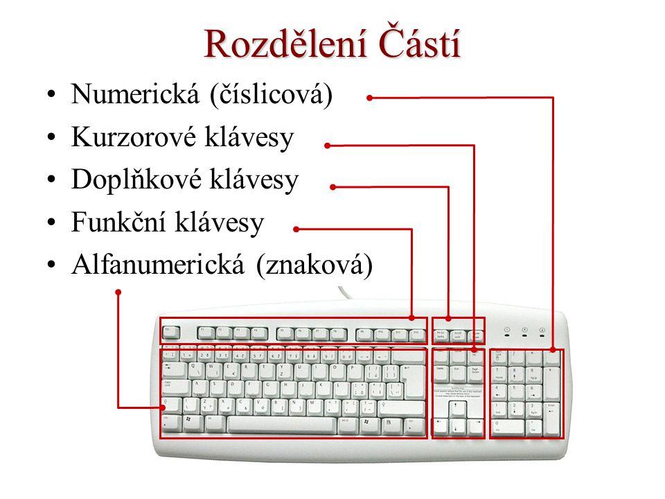 Rozdělení Částí Numerická (číslicová) Kurzorové klávesy Doplňkové klávesy Funkční klávesy Alfanumerická (znaková)
