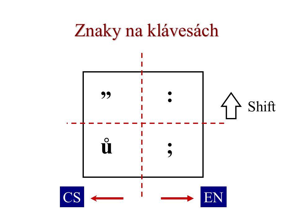 """Znaky na klávesách : ů; """" Shift ENCS"""