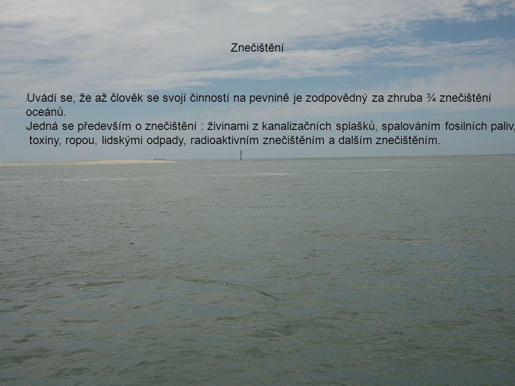 Znečištění l Uvádí se, že až člověk se svojí činností na pevnině je zodpovědný za zhruba ¾ znečištění oceánů.