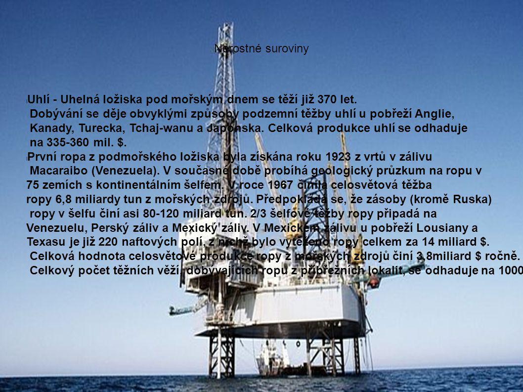 Nerostné suroviny l Uhlí - Uhelná ložiska pod mořským dnem se těží již 370 let.