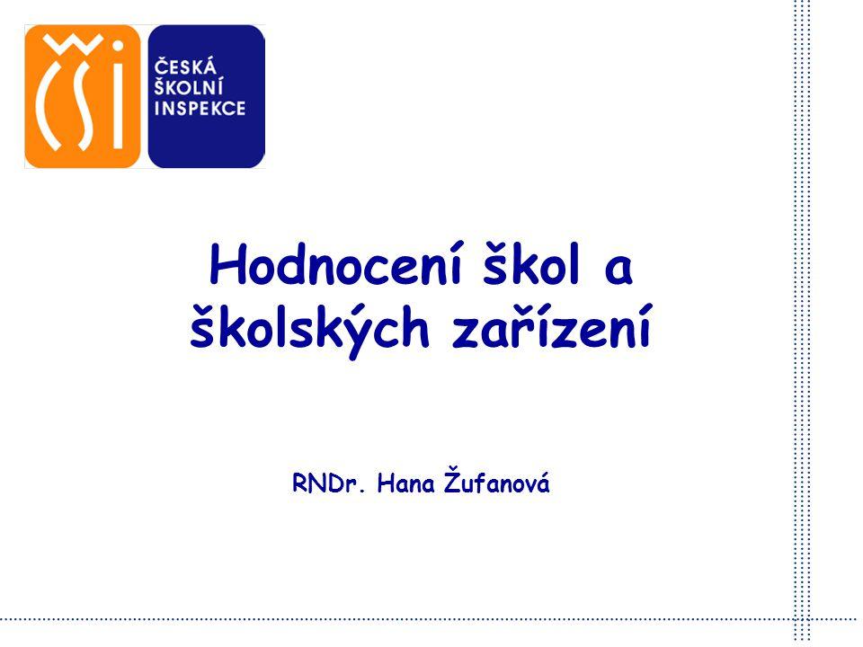 Hodnocení škol a školských zařízení RNDr. Hana Žufanová