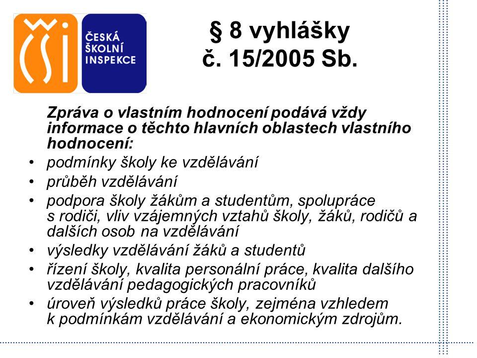 § 8 vyhlášky č. 15/2005 Sb. Zpráva o vlastním hodnocení podává vždy informace o těchto hlavních oblastech vlastního hodnocení: podmínky školy ke vzděl