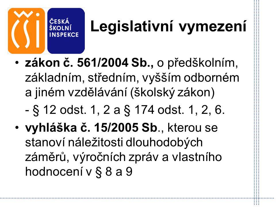 Legislativní vymezení zákon č. 561/2004 Sb., o předškolním, základním, středním, vyšším odborném a jiném vzdělávání (školský zákon) - § 12 odst. 1, 2