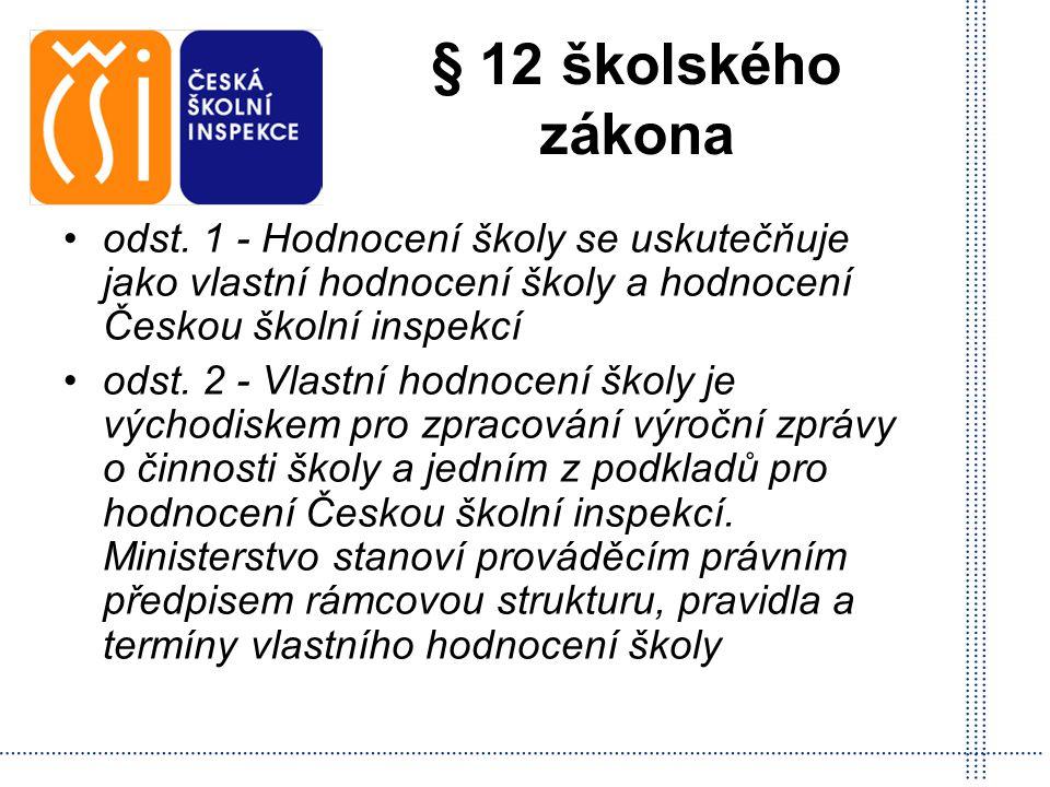 § 12 školského zákona odst. 1 - Hodnocení školy se uskutečňuje jako vlastní hodnocení školy a hodnocení Českou školní inspekcí odst. 2 - Vlastní hodno