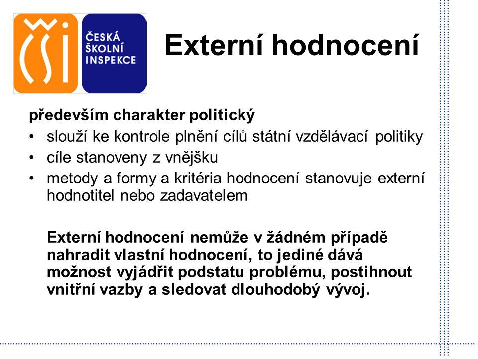 Externí hodnocení především charakter politický slouží ke kontrole plnění cílů státní vzdělávací politiky cíle stanoveny z vnějšku metody a formy a kr