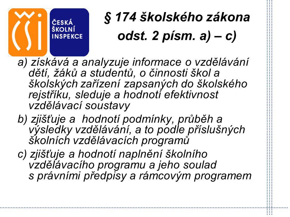 § 174 školského zákona odst. 2 písm. a) – c) a) získává a analyzuje informace o vzdělávání dětí, žáků a studentů, o činnosti škol a školských zařízení