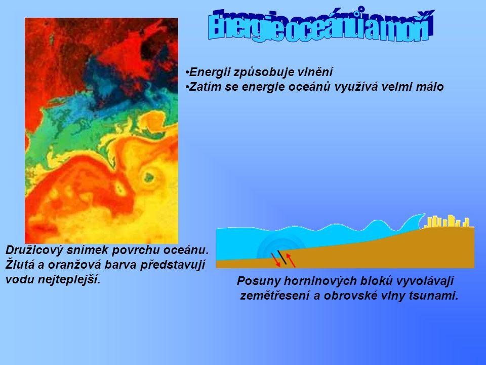 Družicový snímek povrchu oceánu. Žlutá a oranžová barva představují vodu nejteplejší. Energii způsobuje vlnění Zatím se energie oceánů využívá velmi m
