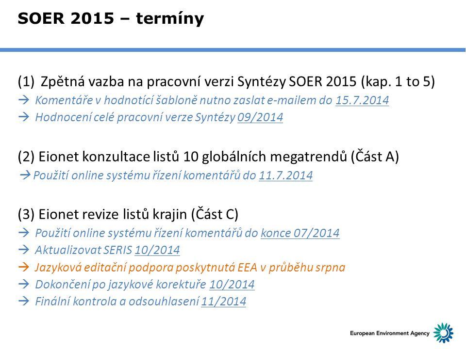 SOER 2015 – termíny (1)Zpětná vazba na pracovní verzi Syntézy SOER 2015 (kap. 1 to 5)  Komentáře v hodnotící šabloně nutno zaslat e-mailem do 15.7.20