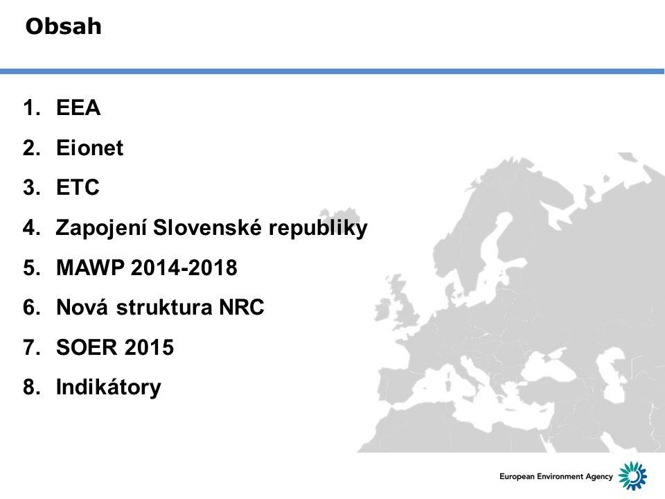 Obsah 1.EEA 2.Eionet 3.ETC 4.Zapojení Slovenské republiky 5.MAWP 2014-2018 6.Nová struktura NRC 7.SOER 2015 8.Indikátory