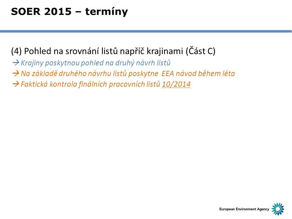 SOER 2015 – termíny (4) Pohled na srovnání listů napříč krajinami (Část C)  Krajiny poskytnou pohled na druhý návrh listů  Na základě druhého návrhu