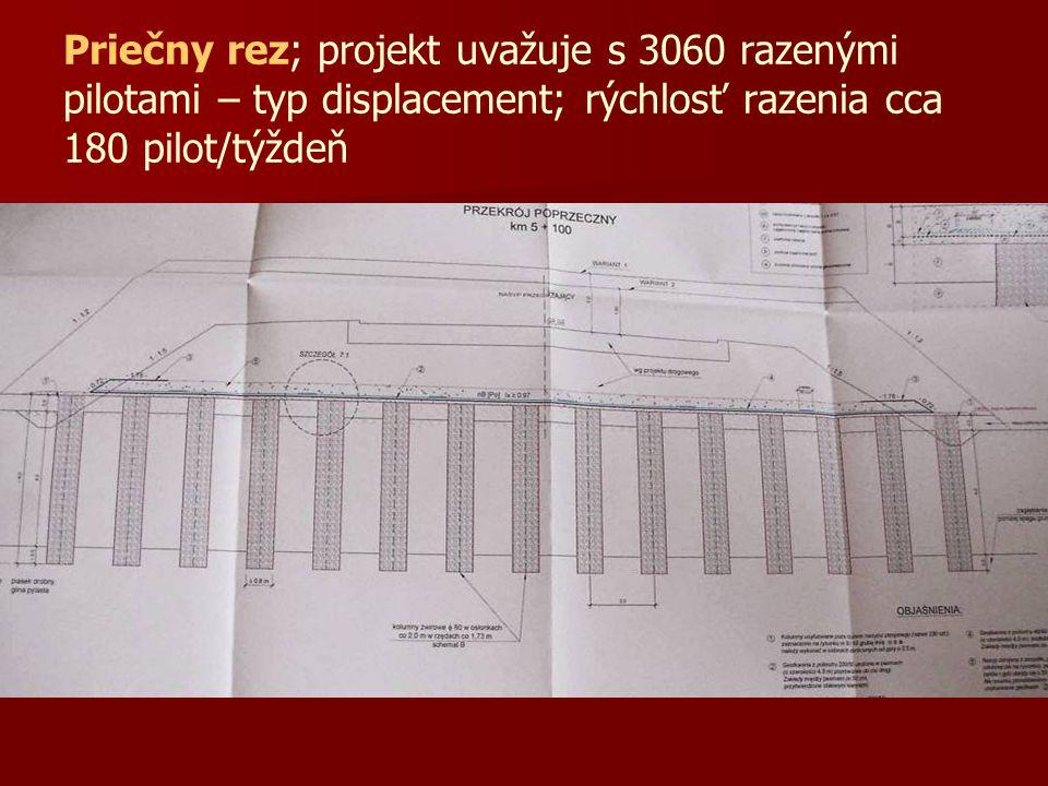 Priečny rez; projekt uvažuje s 3060 razenými pilotami – typ displacement; rýchlosť razenia cca 180 pilot/týždeň