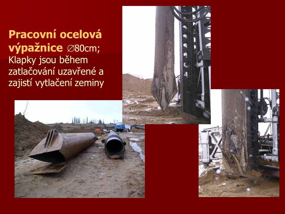 Pracovní ocelová výpažnice  80cm; Klapky jsou během zatlačování uzavřené a zajistí vytlačení zeminy