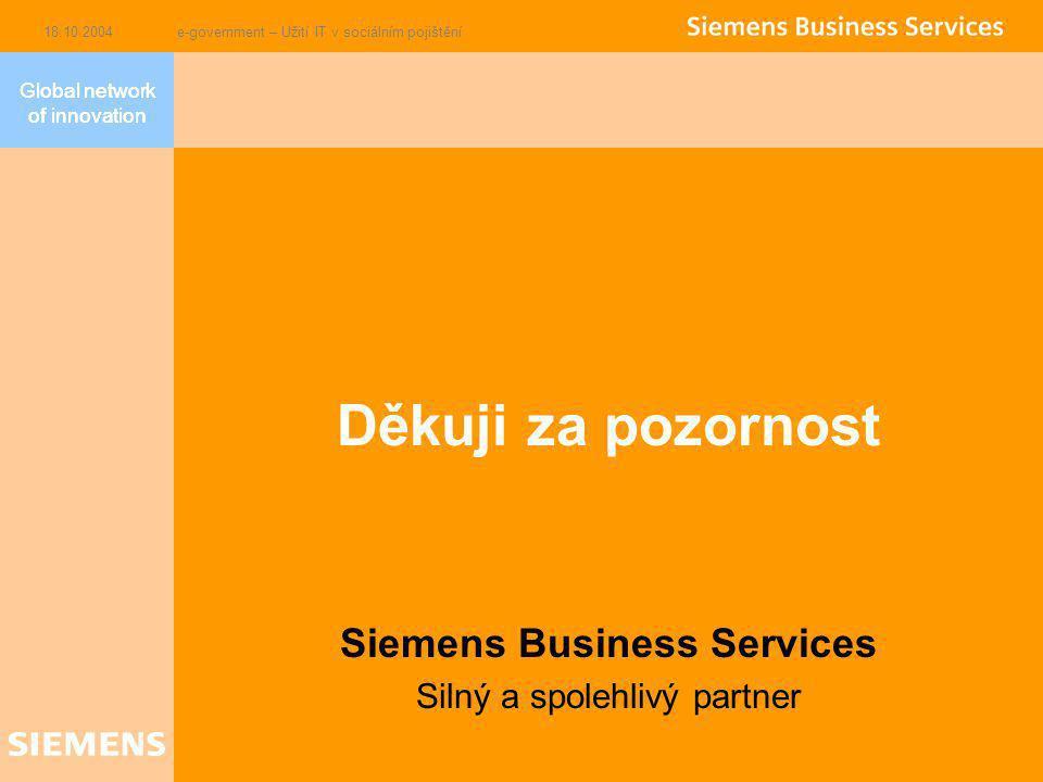 Global network of innovation 18.10.2004e-government – Užití IT v sociálním pojištění Děkuji za pozornost Siemens Business Services Silný a spolehlivý partner Global network of innovation