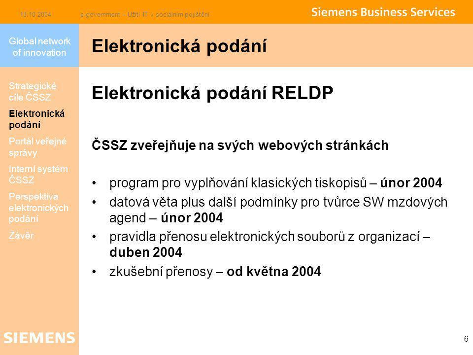 Global network of innovation 18.10.2004e-government – Užití IT v sociálním pojištění 6 Elektronická podání RELDP ČSSZ zveřejňuje na svých webových stránkách program pro vyplňování klasických tiskopisů – únor 2004 datová věta plus další podmínky pro tvůrce SW mzdových agend – únor 2004 pravidla přenosu elektronických souborů z organizací– duben 2004 zkušební přenosy – od května 2004 Elektronická podání Strategické cíle ČSSZ Elektronická podání Portál veřejné správy Interní systém ČSSZ Perspektiva elektronických podání Závěr