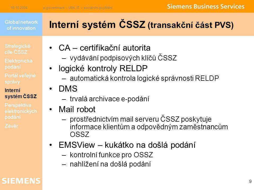 Global network of innovation 18.10.2004e-government – Užití IT v sociálním pojištění 9 CA – certifikační autorita –vydávání podpisových klíčů ČSSZ logické kontroly RELDP –automatická kontrola logické správnosti RELDP DMS –trvalá archivace e-podání Mail robot –prostřednictvím mail serveru ČSSZ poskytuje informace klientům a odpovědným zaměstnancům OSSZ EMSView – kukátko na došlá podání –kontrolní funkce pro OSSZ –nahlížení na došlá podání Interní systém ČSSZ (transakční část PVS) Strategické cíle ČSSZ Elektronická podání Portál veřejné správy Interní systém ČSSZ Perspektiva elektronických podání Závěr